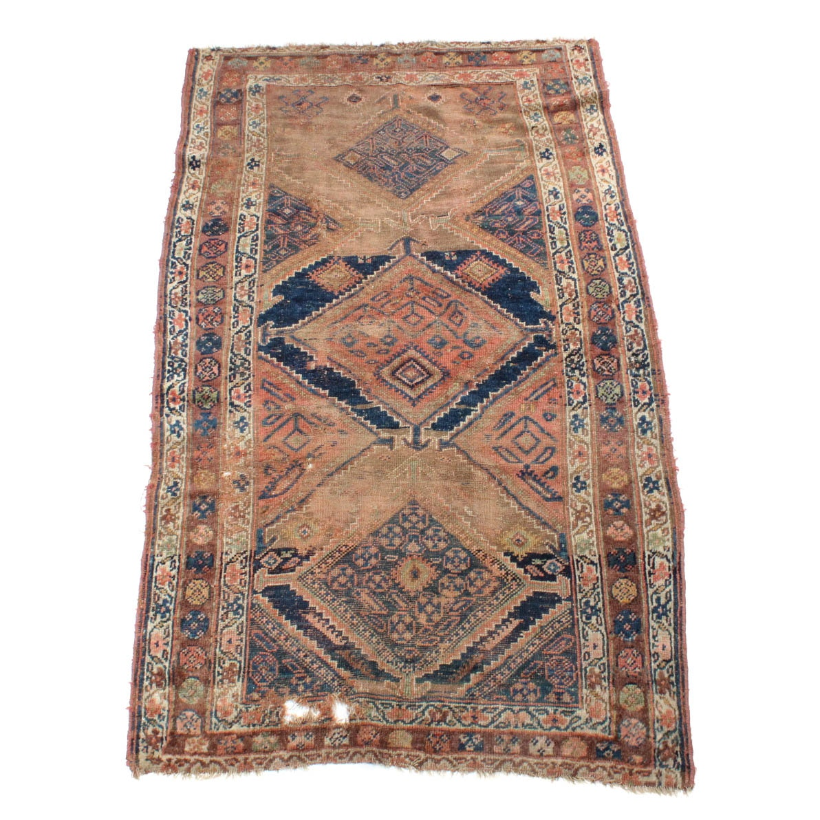 Antique Hand-Knotted Persian Kurdish Caucasian Long Rug