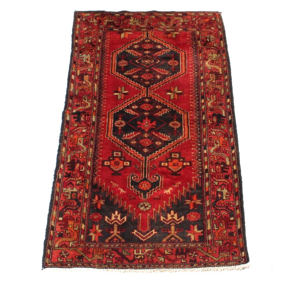 Semi-Antique Hand-Knotted Persian Zanjan Area Rug