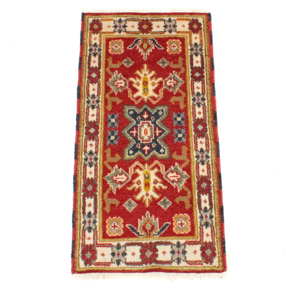 Hand-Knotted Indo-Caucasian Kazak Accent Rug