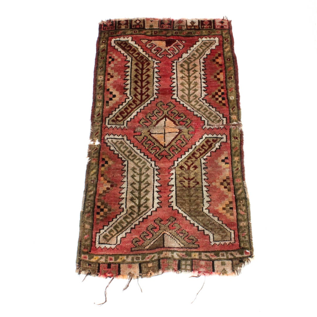 Antique Hand-Knotted Turkish Oushak