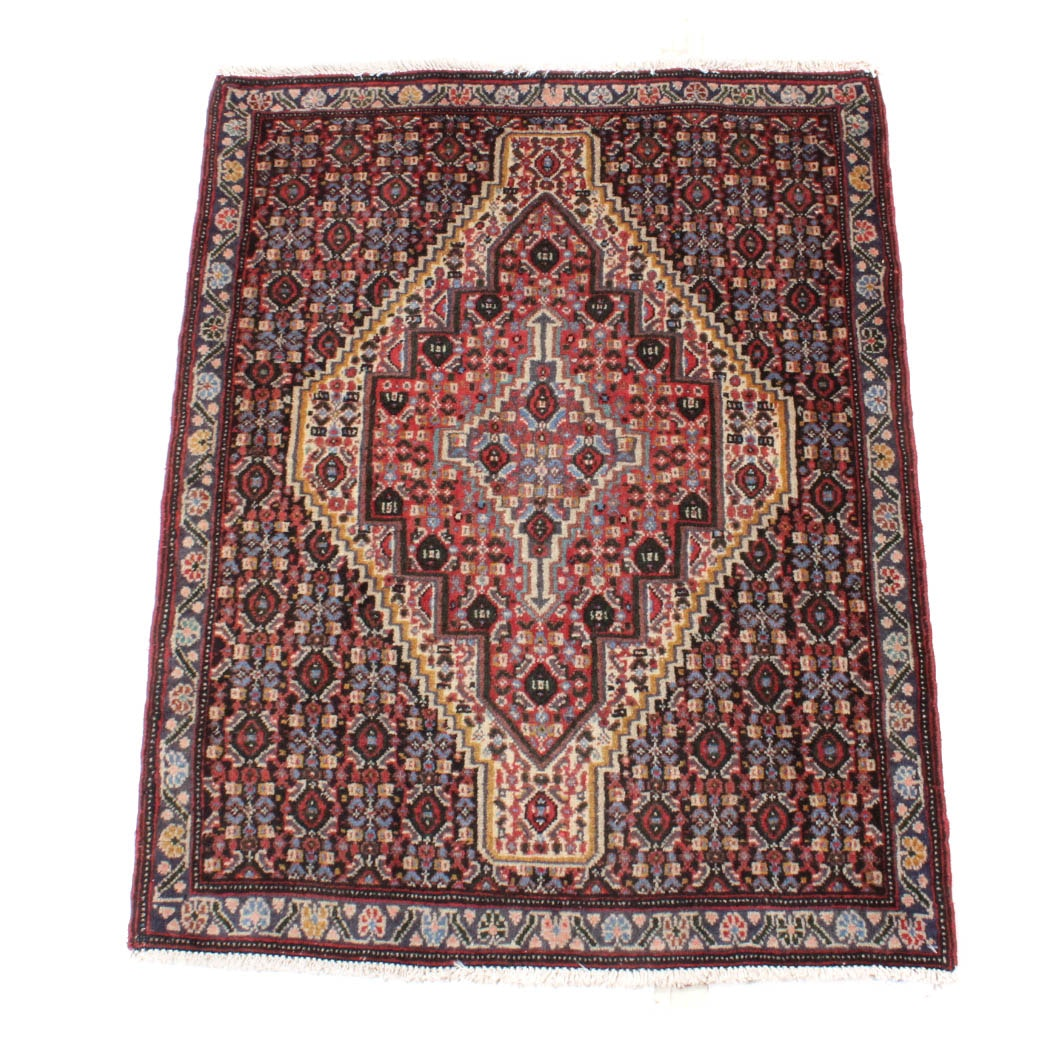 Hand-Knotted Fine Persian Bijar Accent Rug