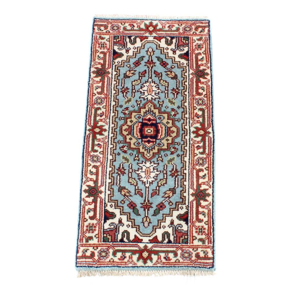 Hand-Knotted Indo-Persian Serapi Accent Rug