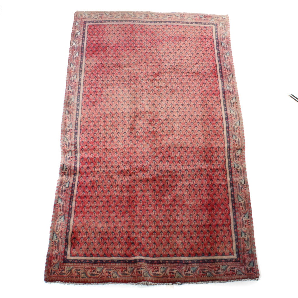 Semi-Antique Hand-Knotted Persian Mir Sarouk Area Rug