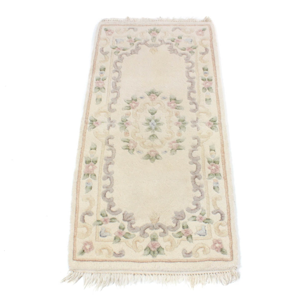 Hand-Knotted Indo-French Aubusson-Style Accent Rug
