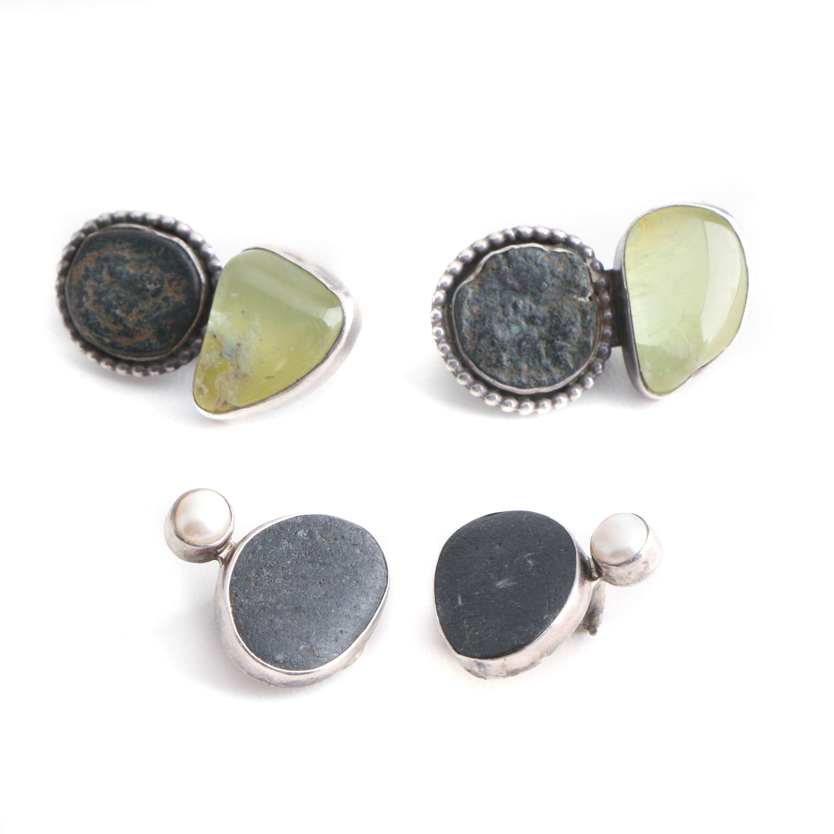 Signed Sterling Silver Earrings Including Gemstones