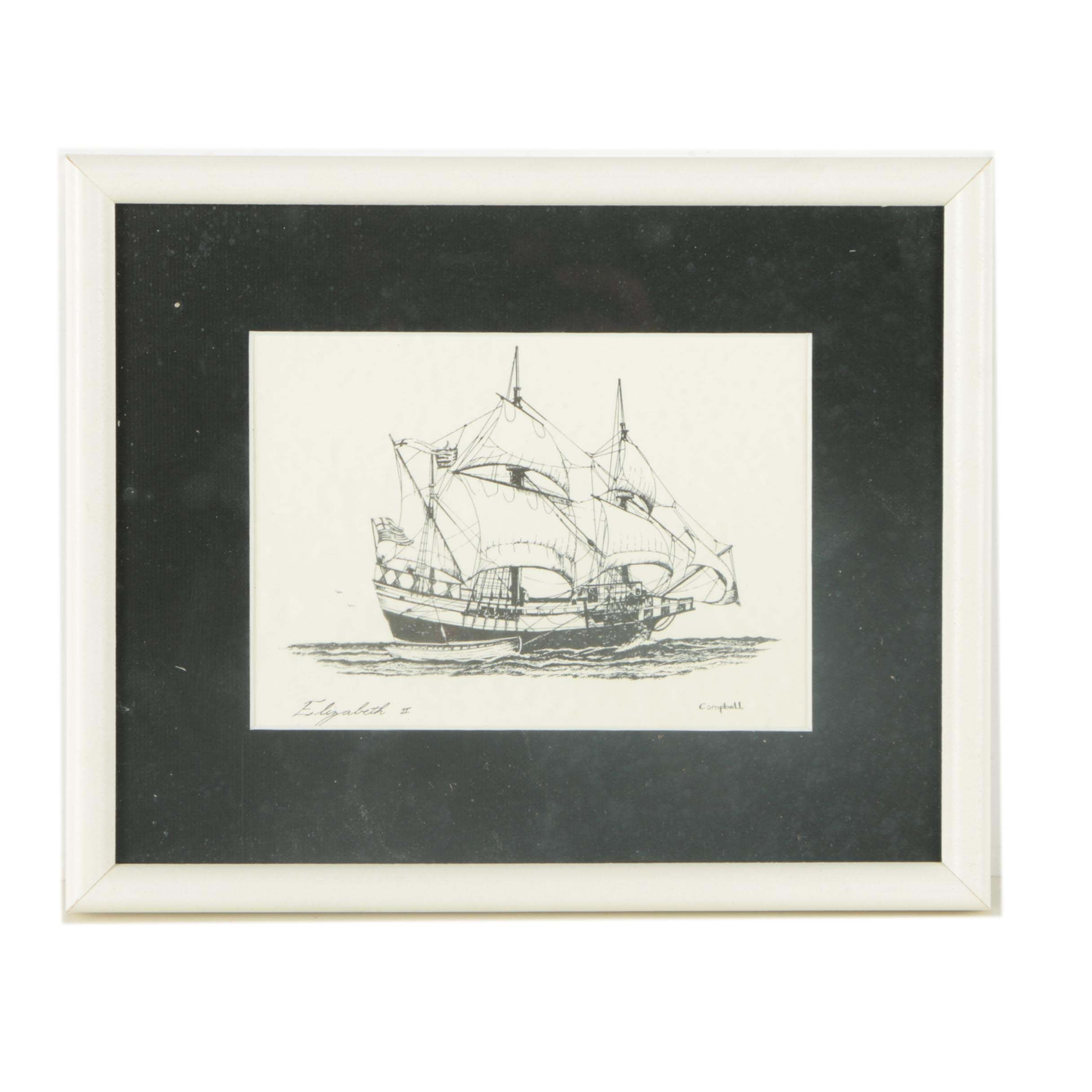 """Lithograph on Paper After Campbell """"Elizabeth II"""""""