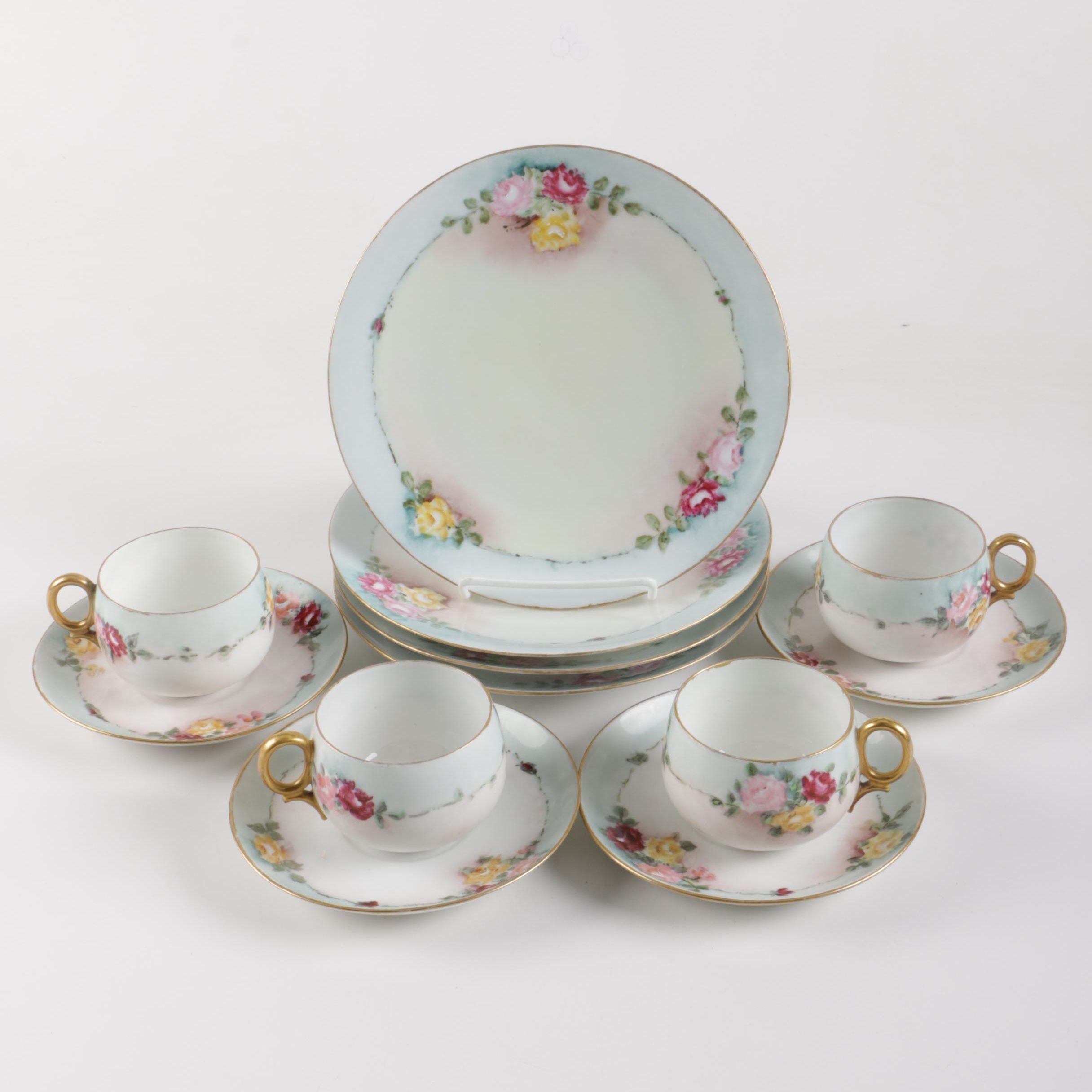 Hobbyist Hand-Painted Porcelain Dessert Set