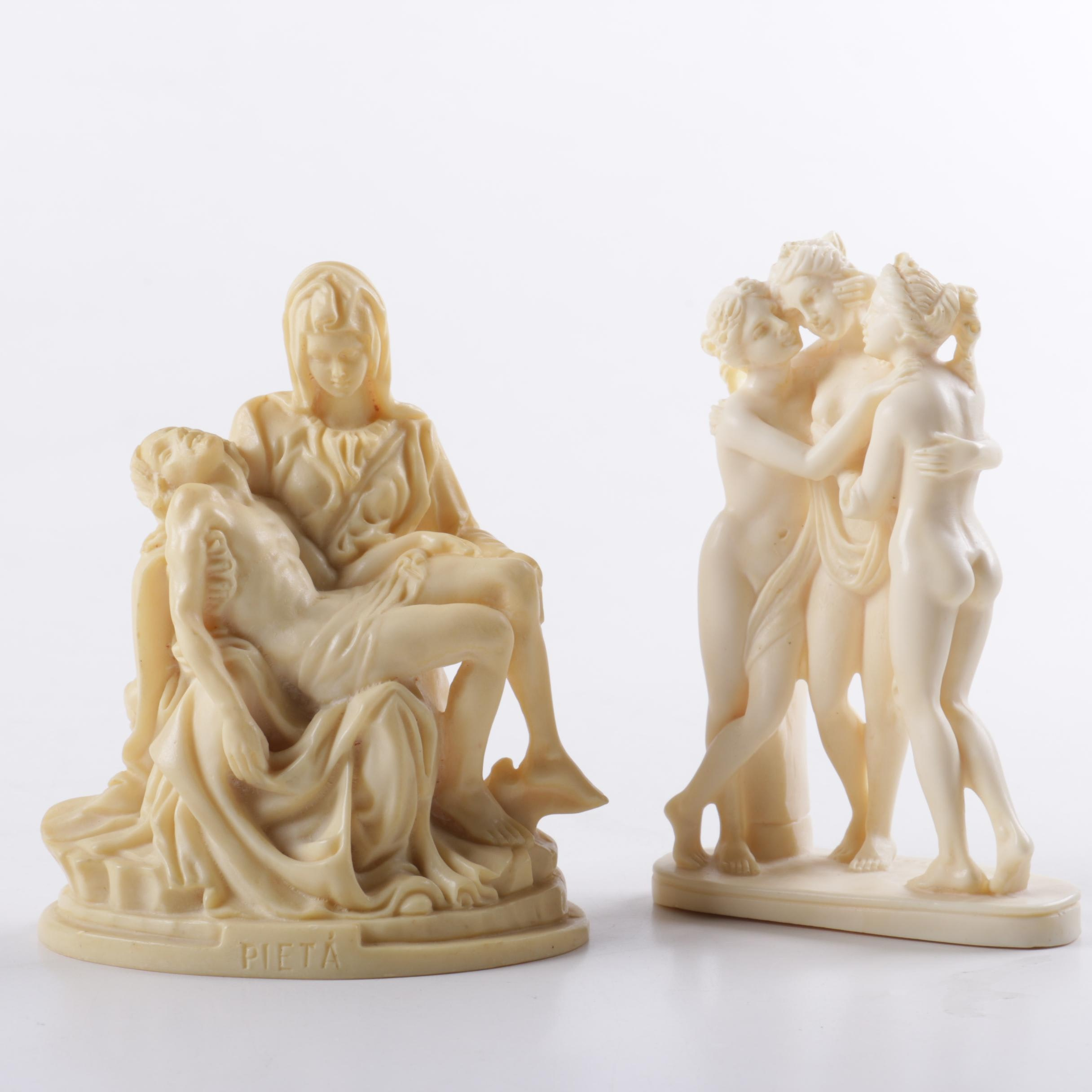A. Santini Resin Sculptures After Works by Michelangelo and Antonio Canova