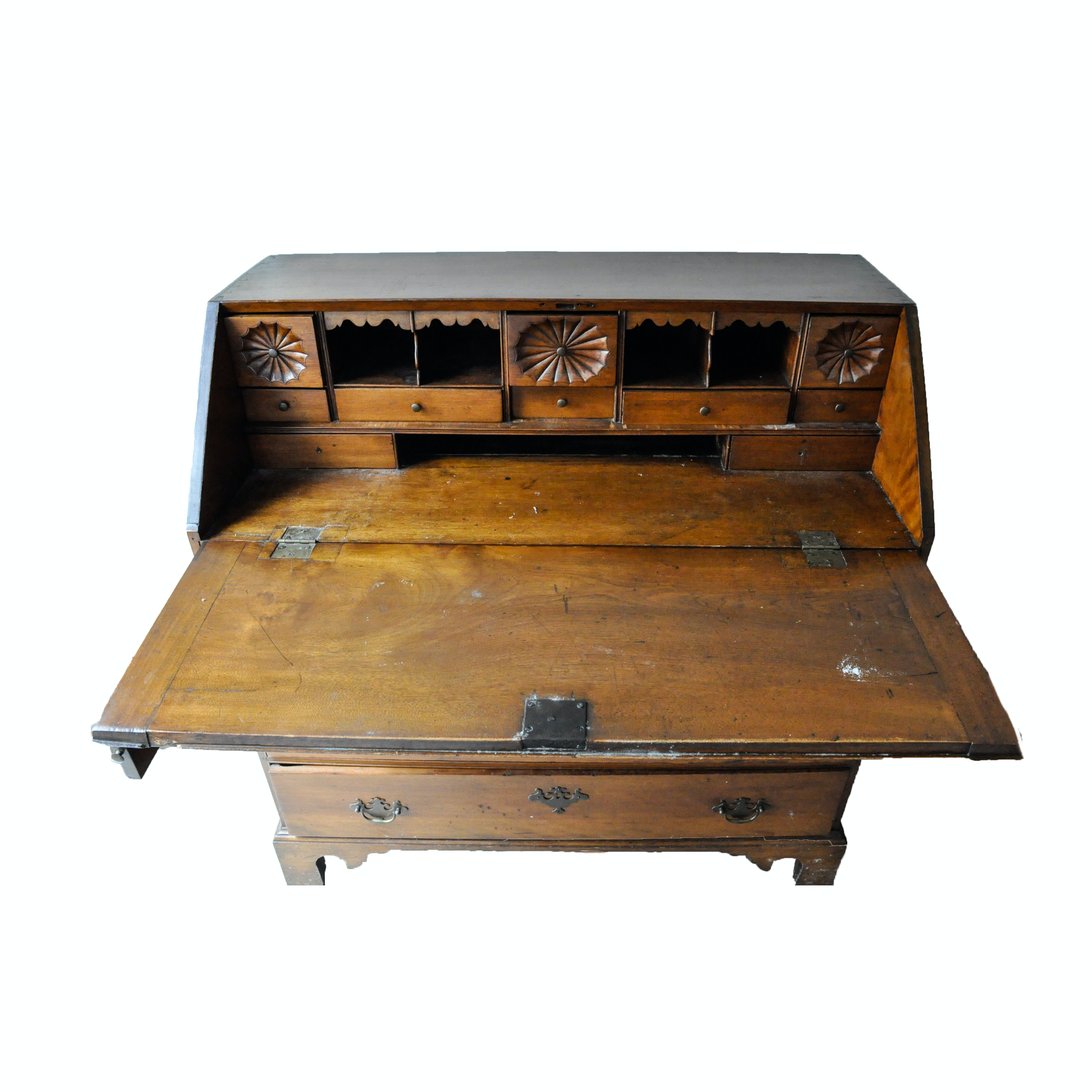 Antique Chippendale Style Walnut Slant Front Secretary
