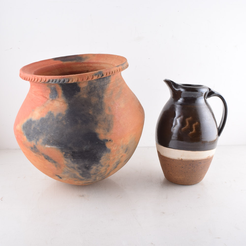 Handmade Earthenware Pitcher and Terra Cotta Pot with Rounded Bottom