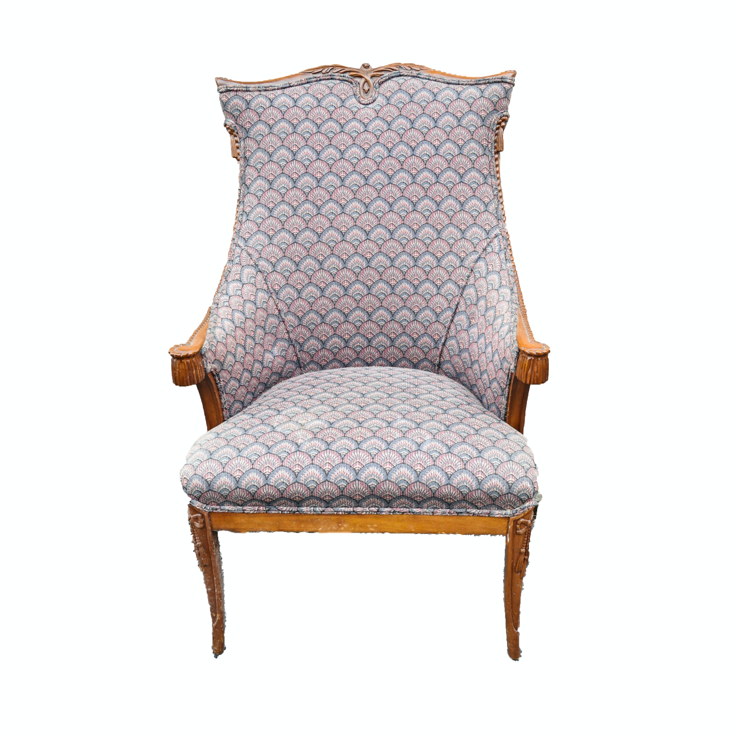 Vintage Bergere Chair with Rope and Tassel Carvings