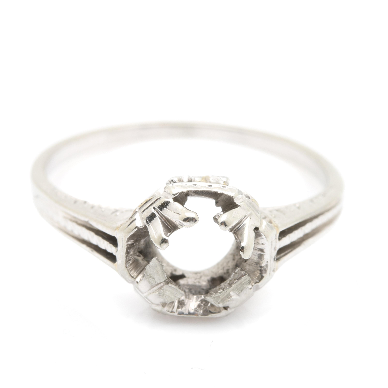 18K White Gold Mount Ring