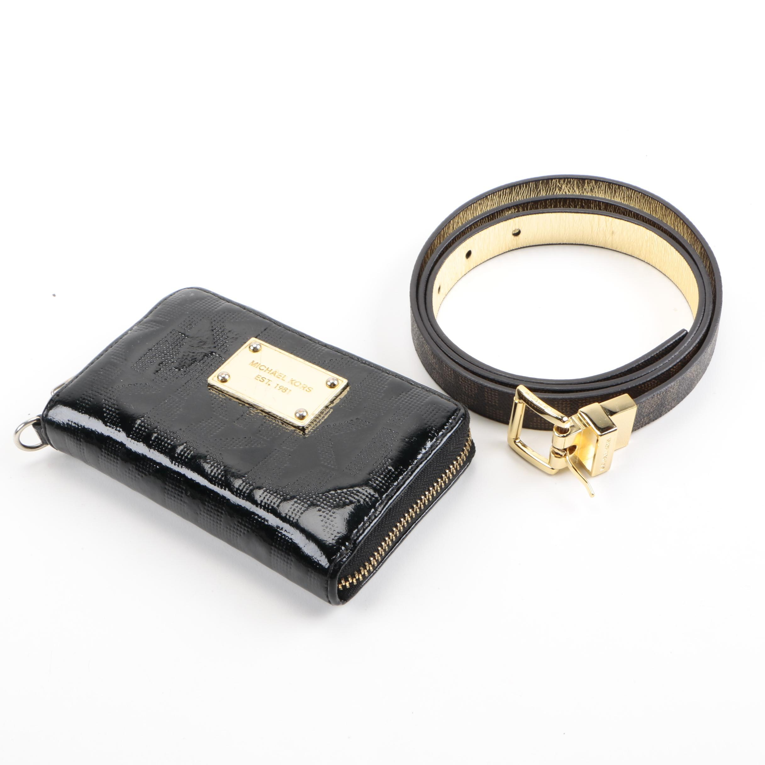 Michael Kors Patent Leather Wallet and Belt