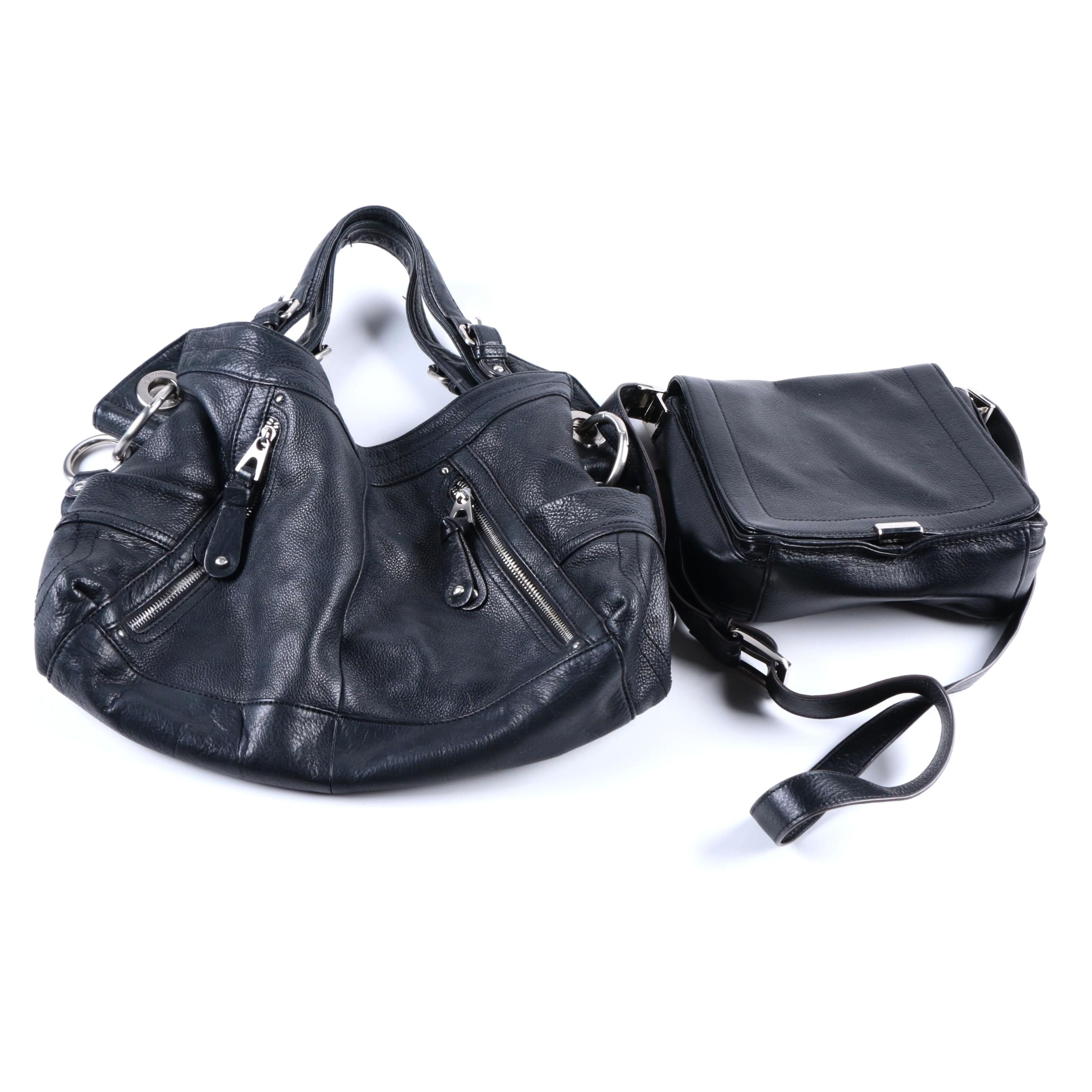 B. Makowski Black Leather Handbags