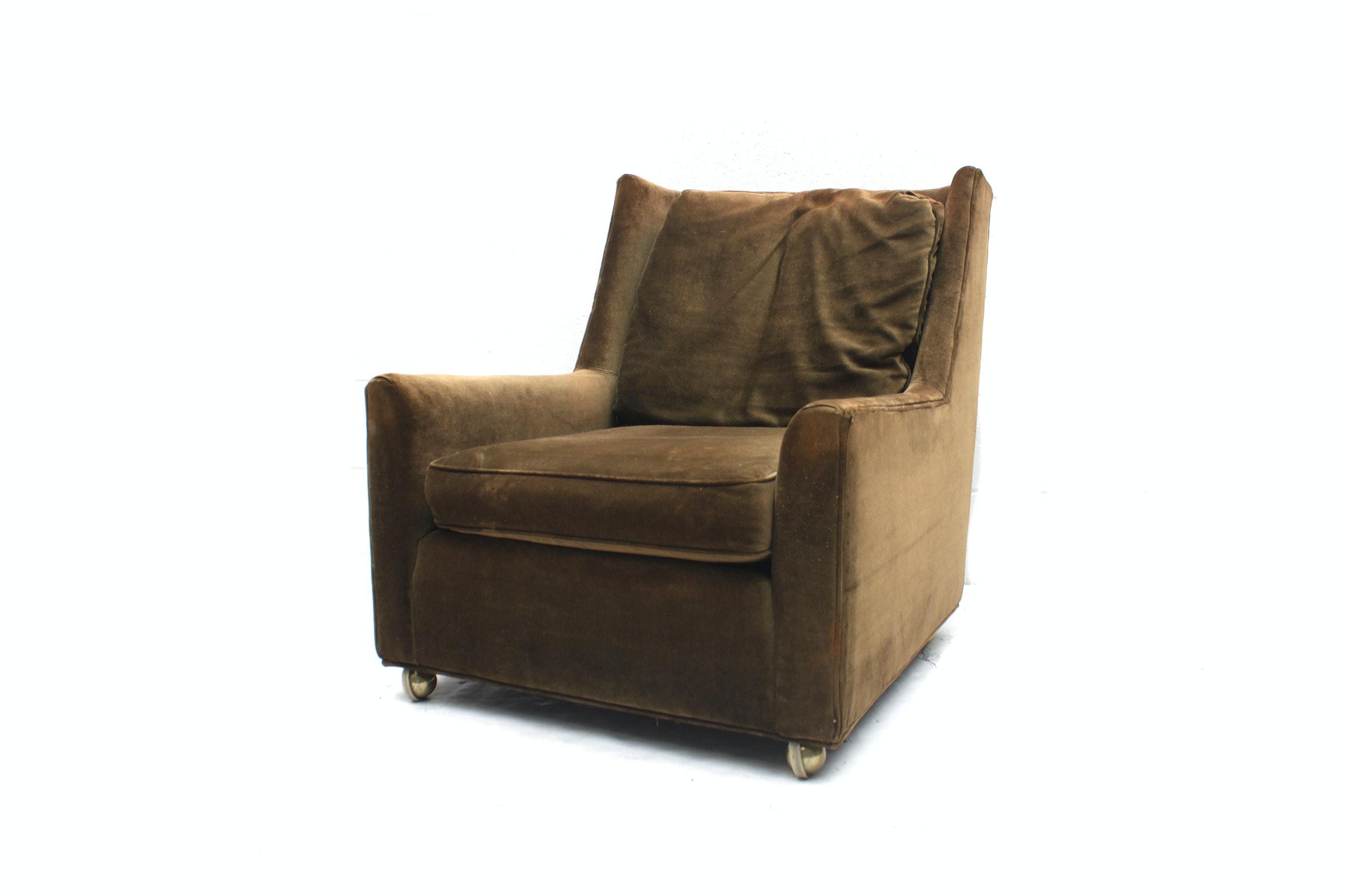 Vintage Green Velour Armchair Made for Carson Pirie Scott & Co.