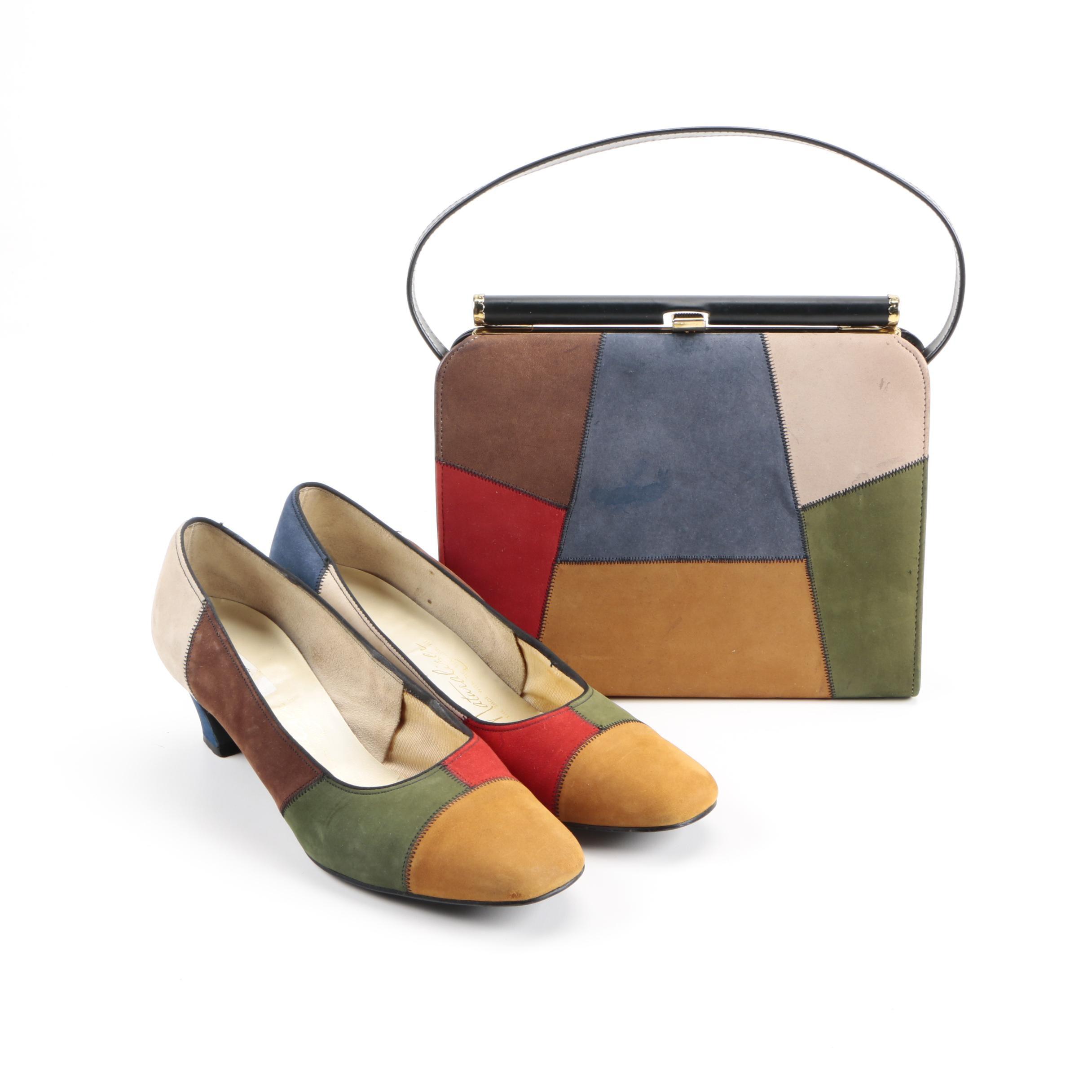 Vintage Naturalizer Matching Heels and Handbag Set