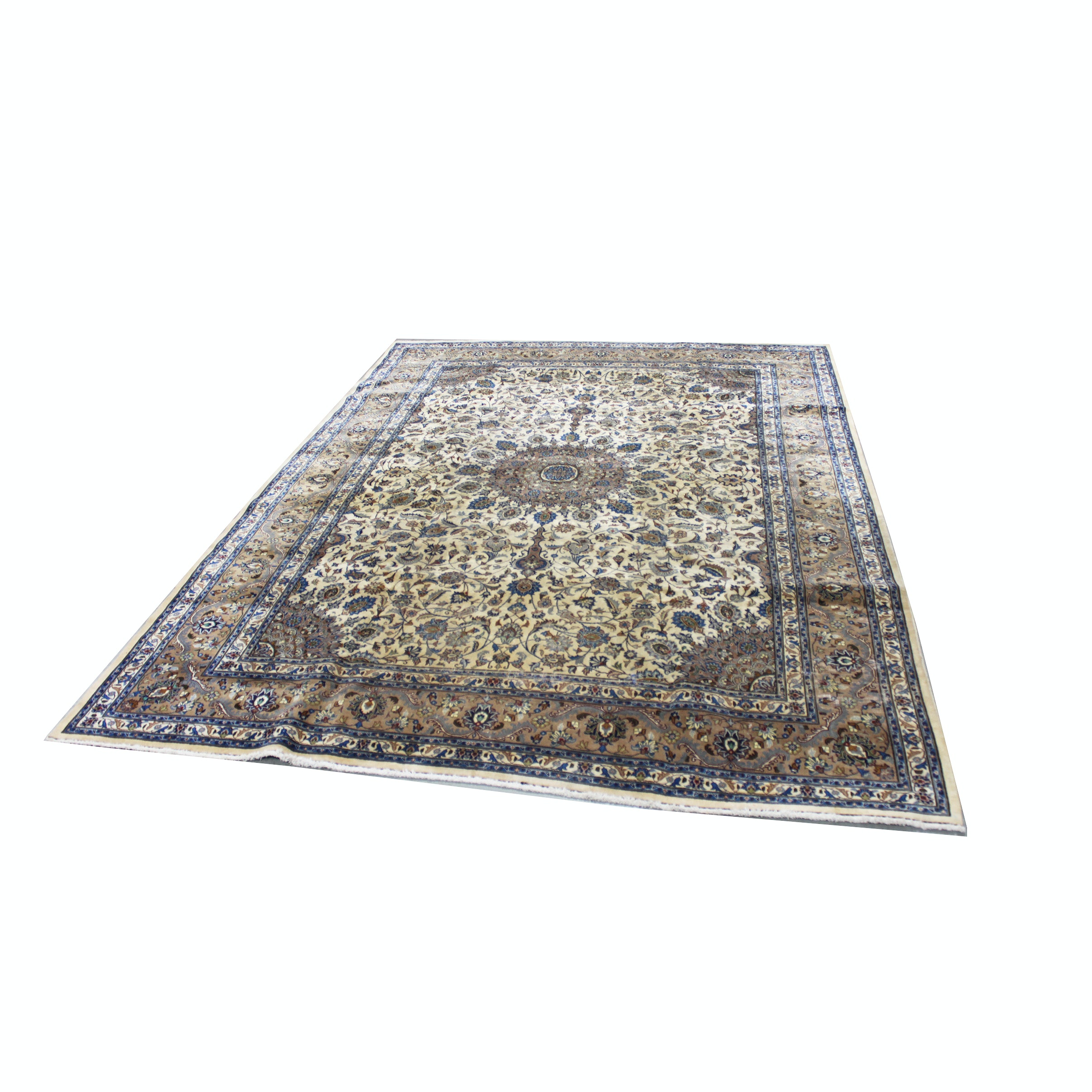 Large Hand-Knotted Persian Nain Area Rug