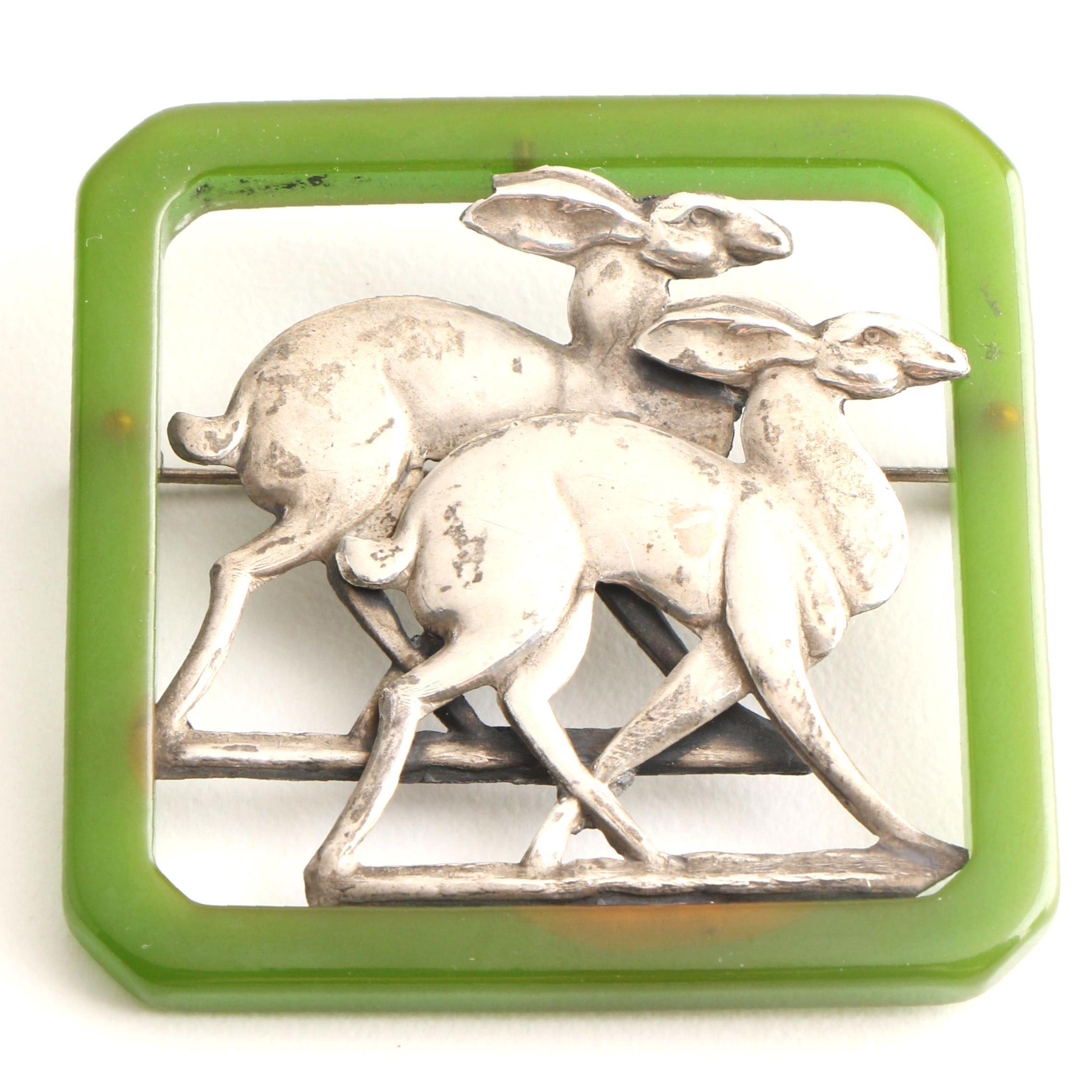 Vintage Circa 1930s Sterling Silver Bakelite Deer Brooch