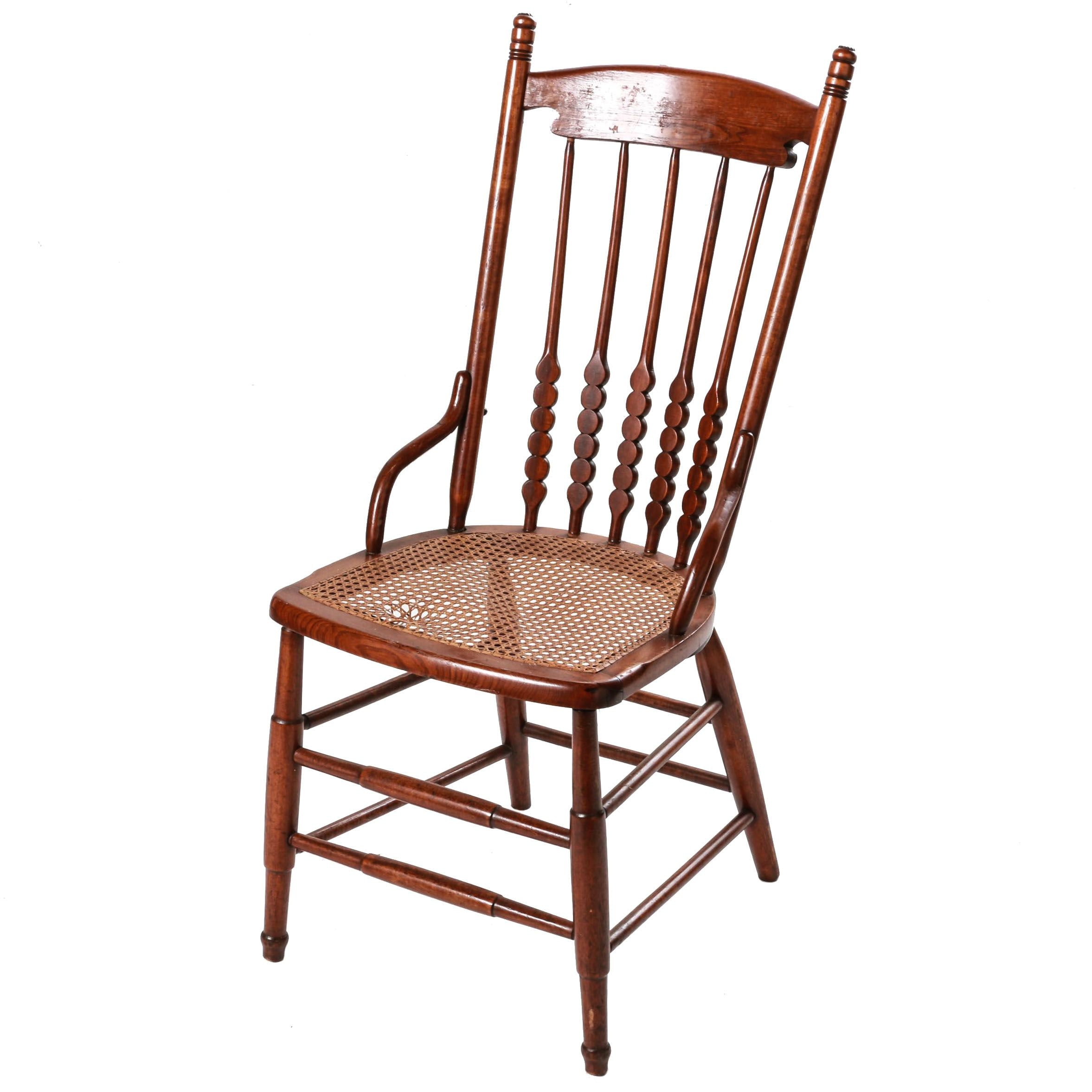 Vintage Spindle Back Chair with Cane Seat