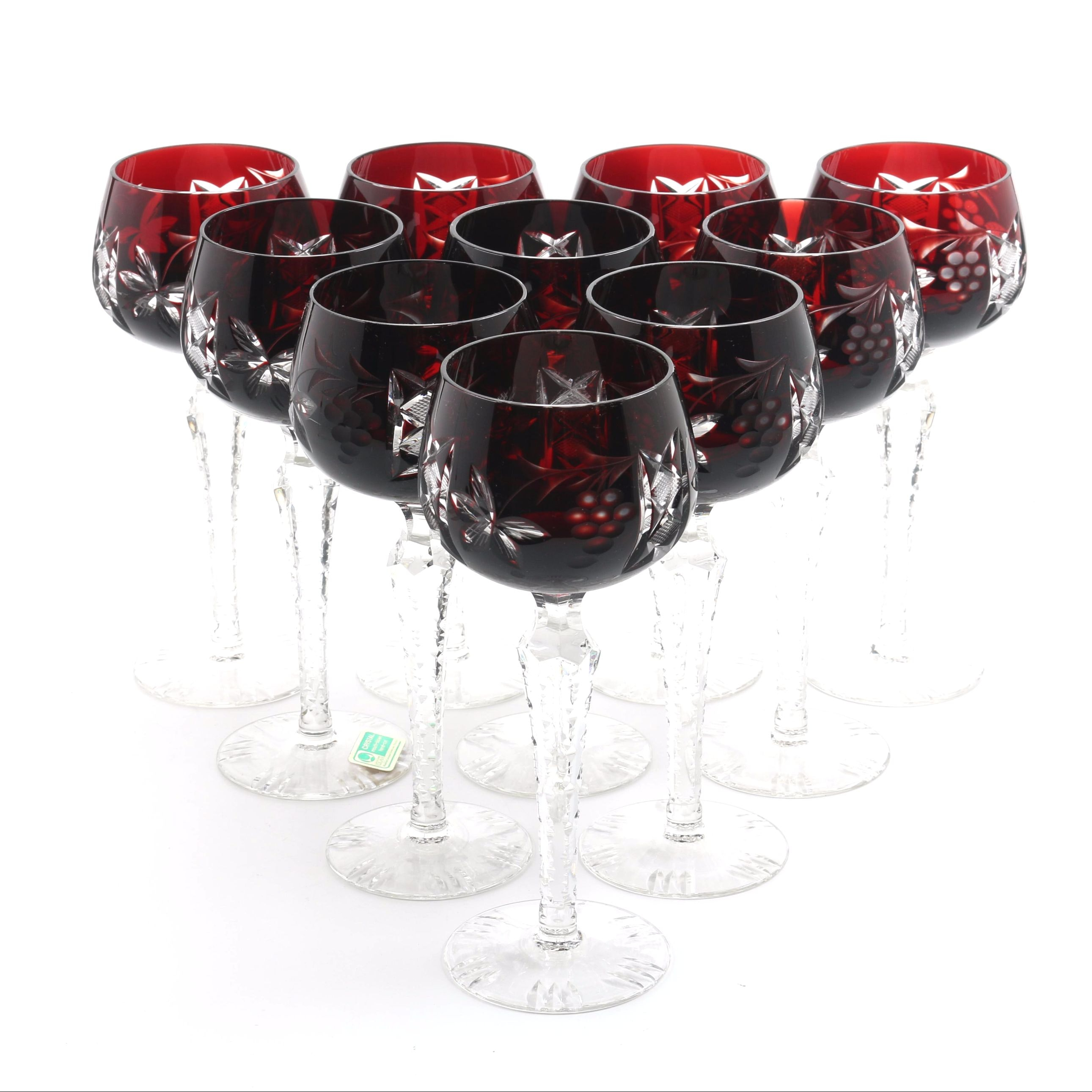 Lausitzer Glas Ruby Cut to Clear Crystal Wine Glasses