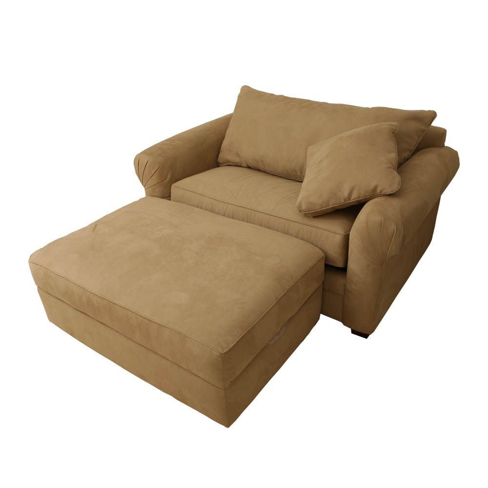Faux Suede Upholstered Sofa Bed Armchair with Ottoman