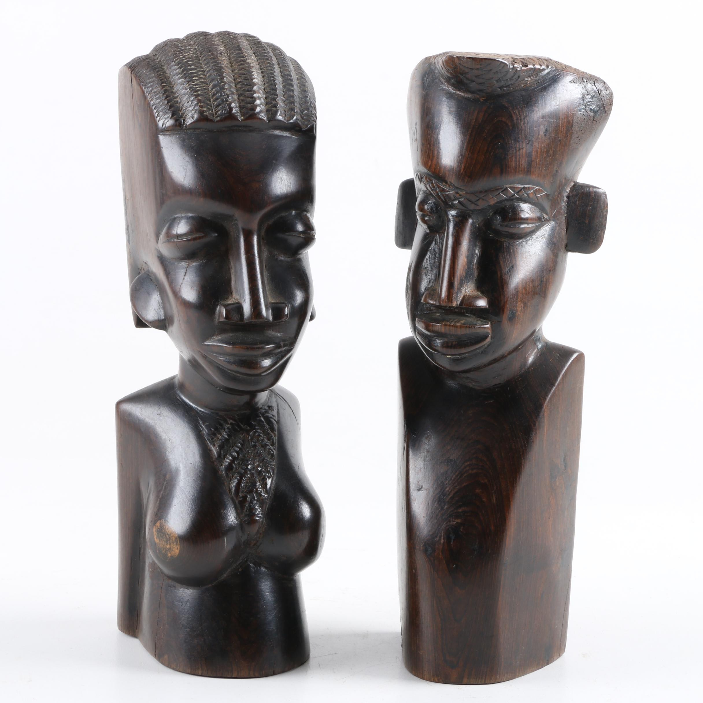 African Inspired Carved Wood Statues