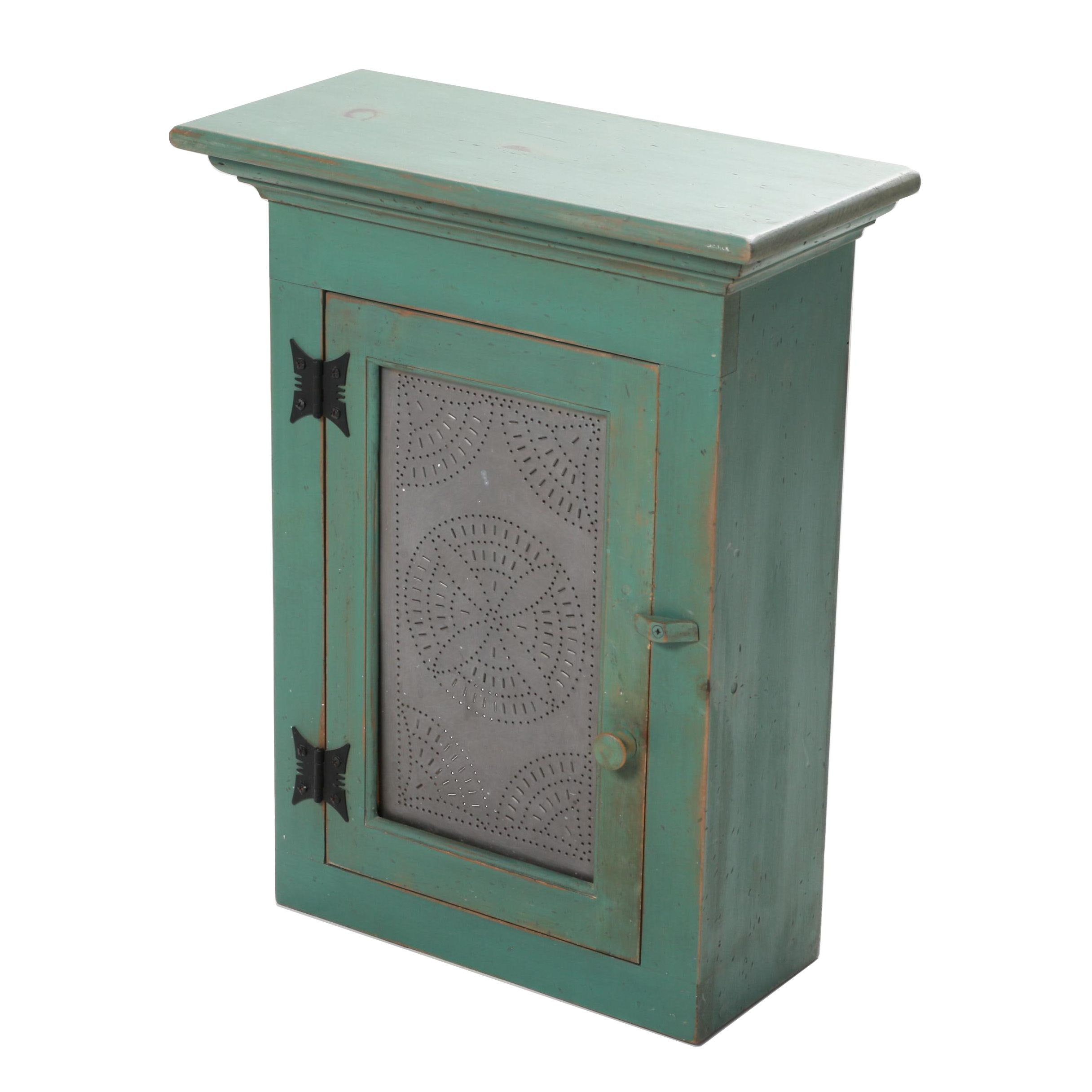 Blue Green Painted Wood Punched Metal Front Wall Shelf