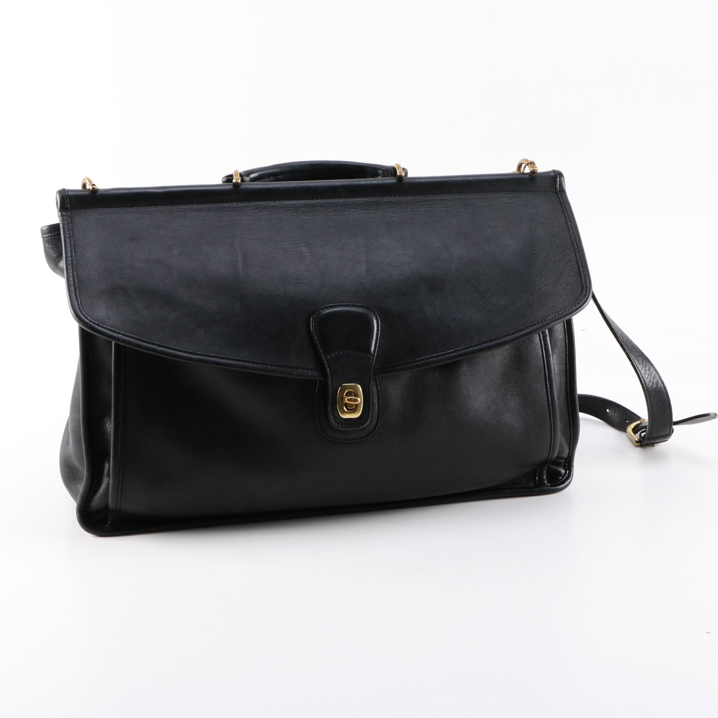 "Vintage Coach ""Beekman"" Black Leather Briefcase"