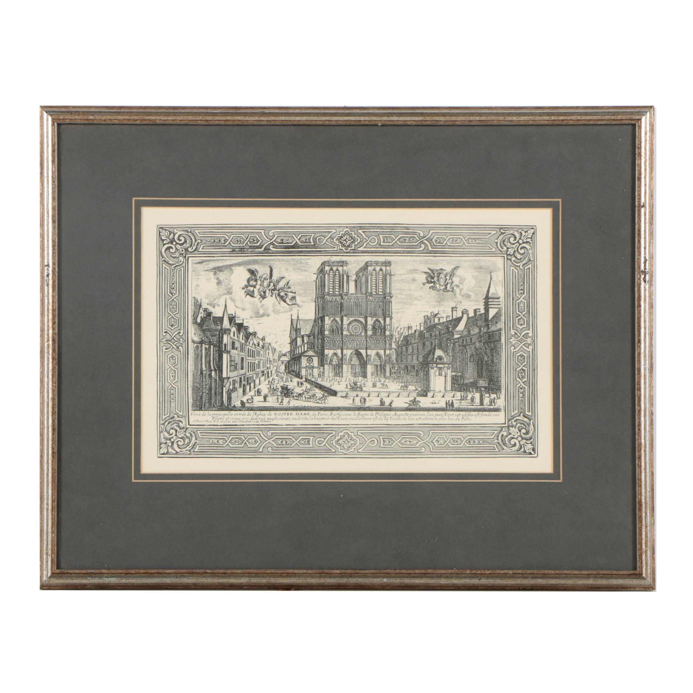 """Lithograph after an Engraving on Laid Paper """"Nostre Dame"""""""