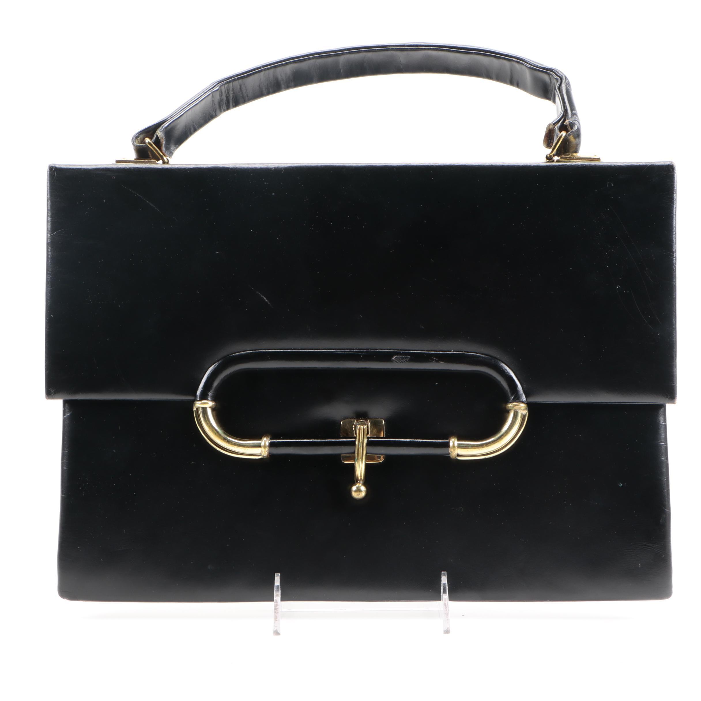 Vintage 1950s Black Leather Briefcase Handbag
