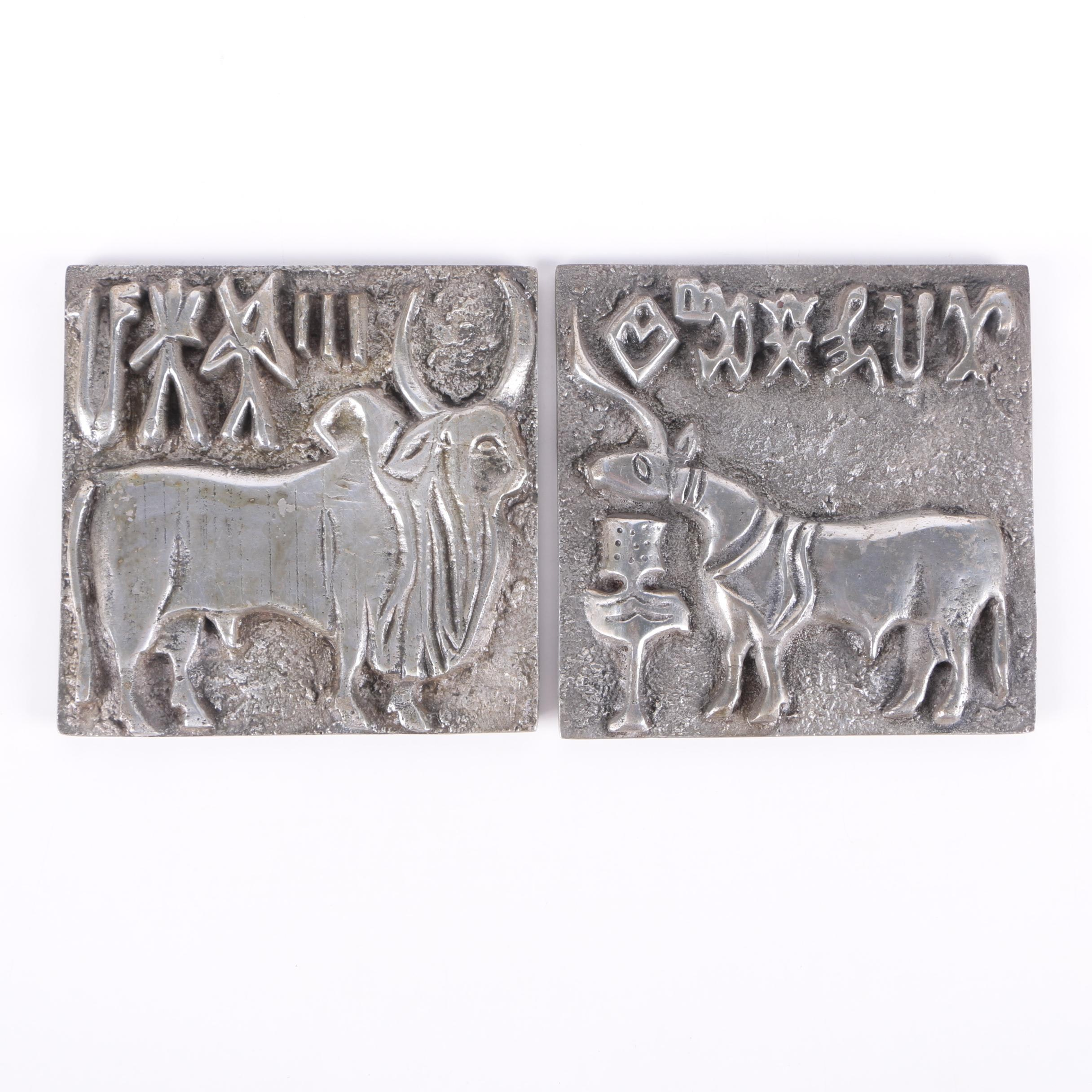Metal Alloy Wall Hangings of an Ox and a Deer in Relief