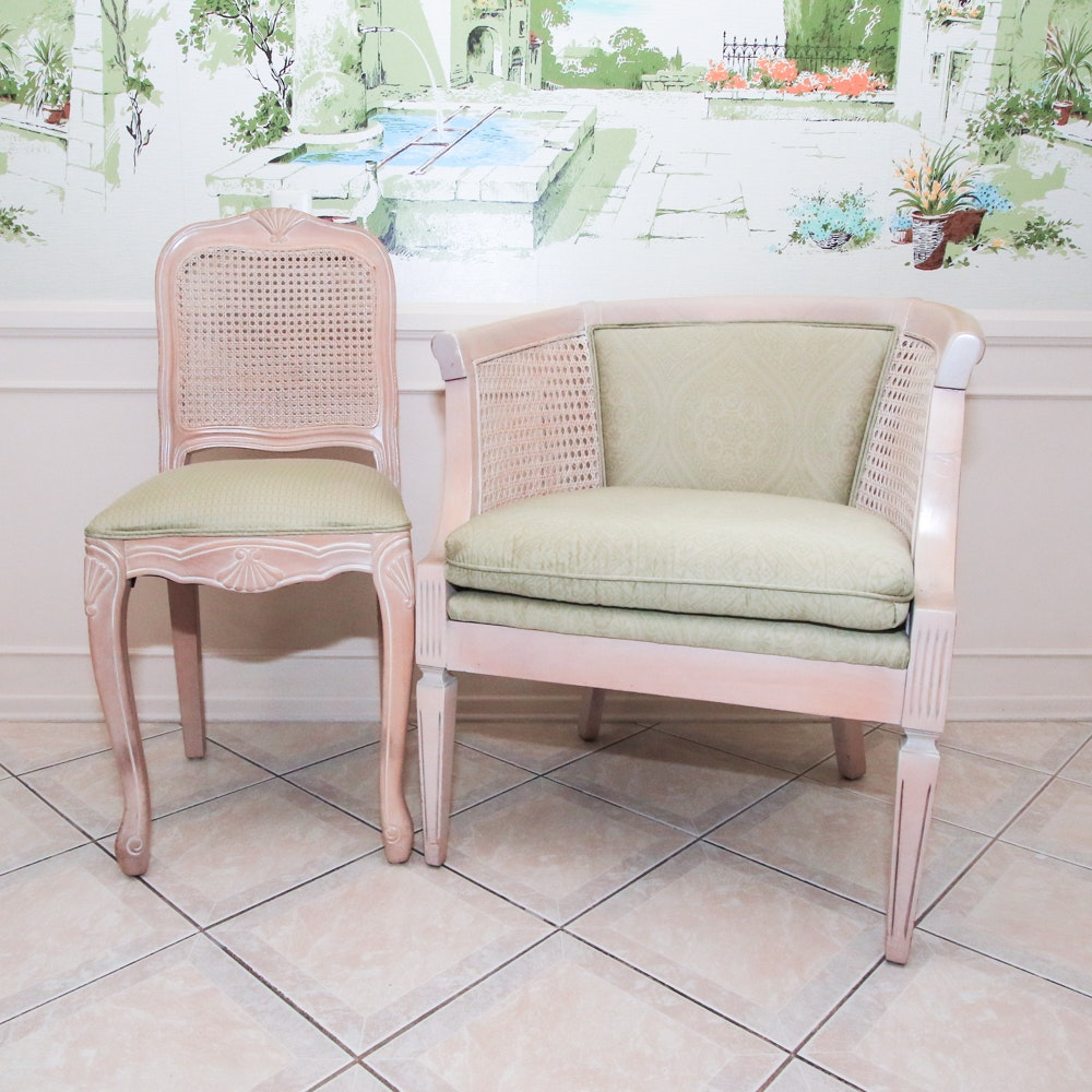 Cane Back Barrel Chair and Side Chair with Green Upholstery