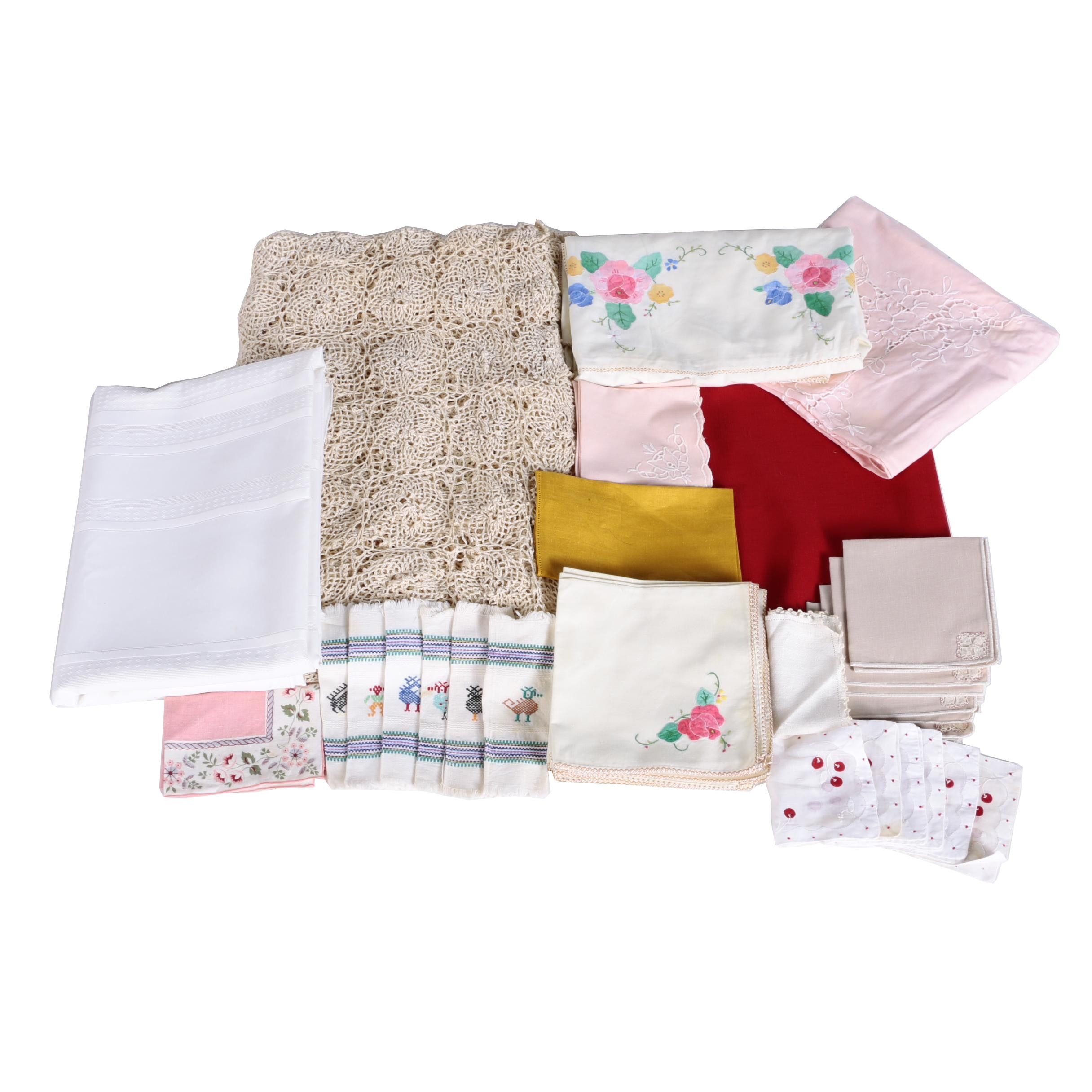 Kitchen Linens Including Tablecloth and Napkins