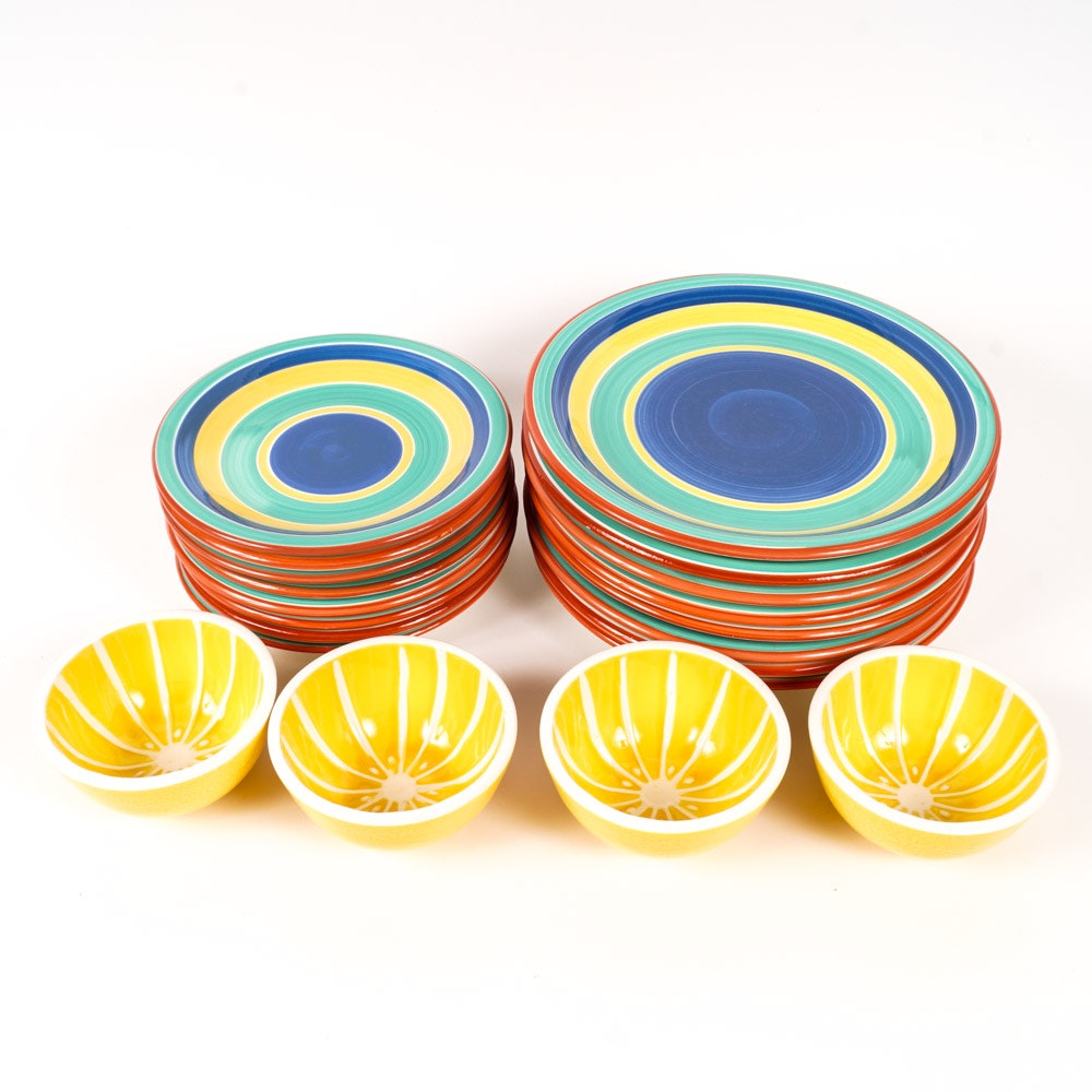 Set of Hand-Painted Pier1 Plates and Bowls