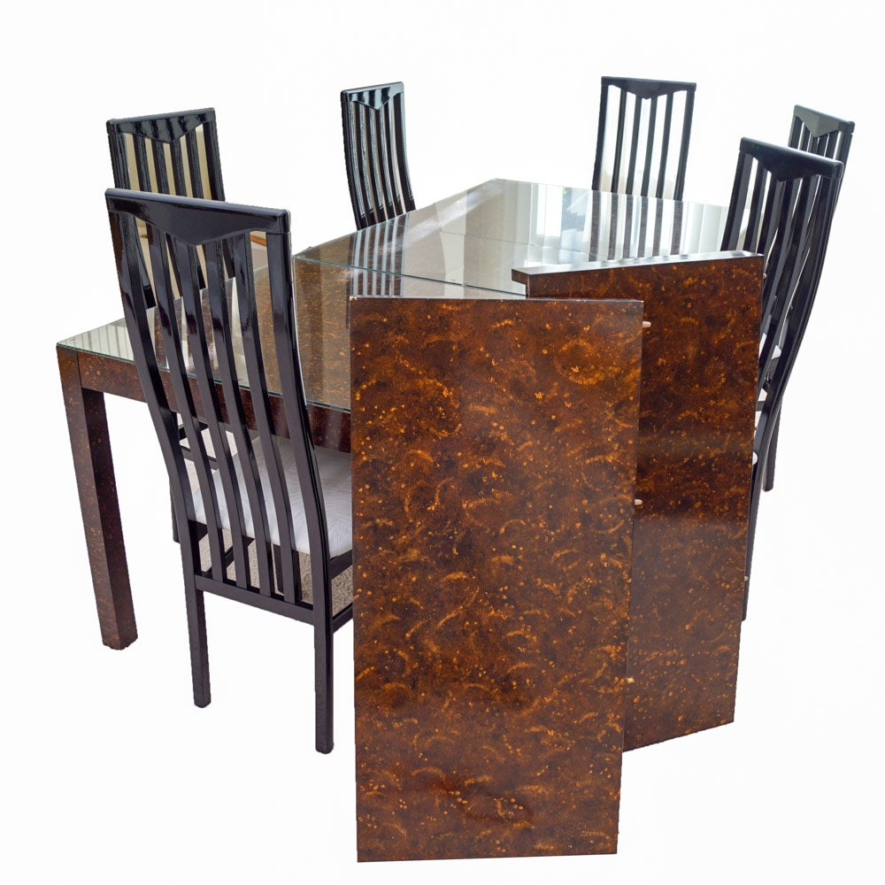 Contemporary Modernist Glass-Topped Dining Table and Chairs