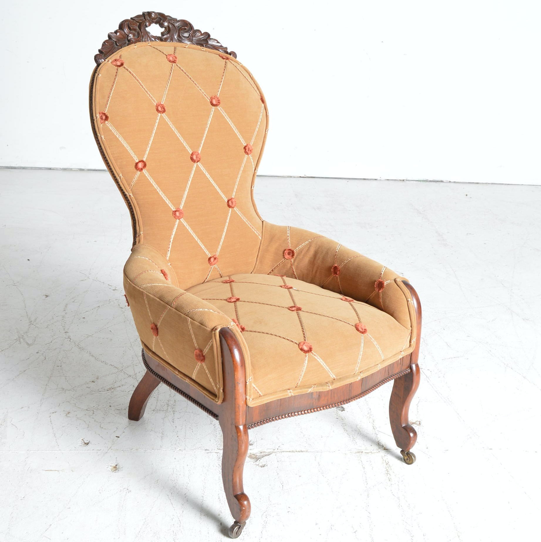 Victorian Walnut Upholstered Parlor Chair