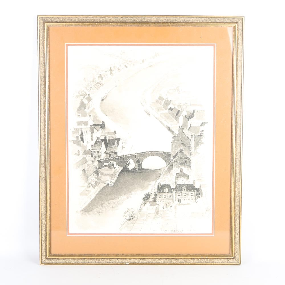 Framed Offset Lithograph of a City