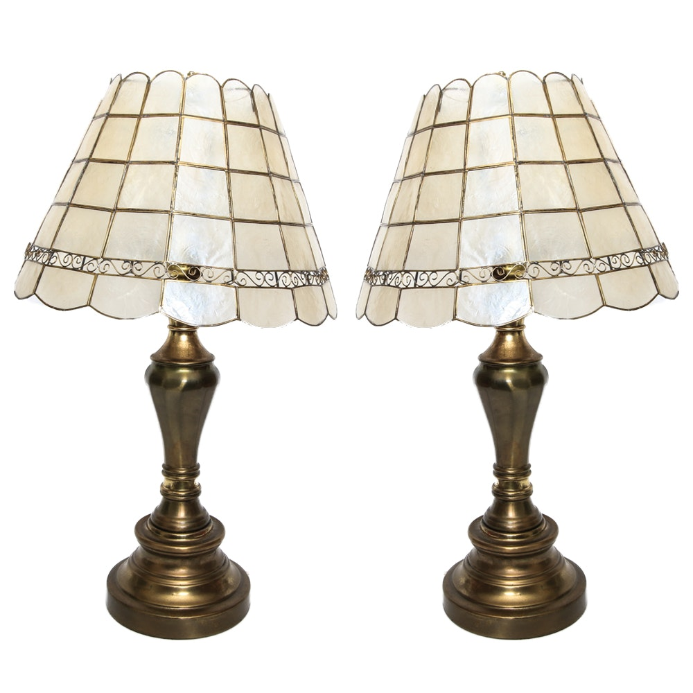 Pair of Table Lamps With Capiz Shell Shade