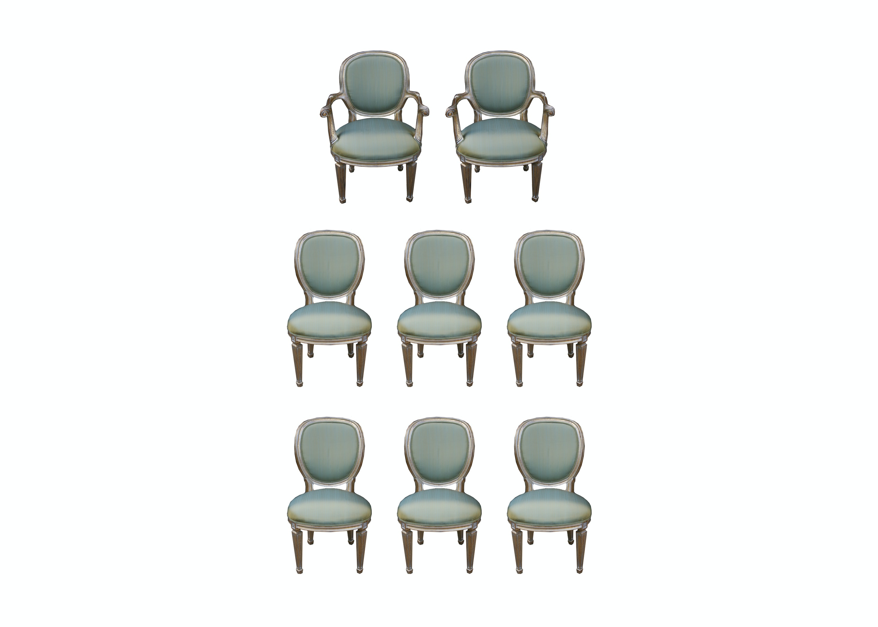 Set of Eight Victorian Upholstered Dining Chairs