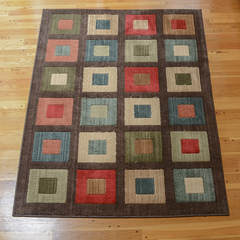 Power-Loomed Colorblock Contemporary Area Rug