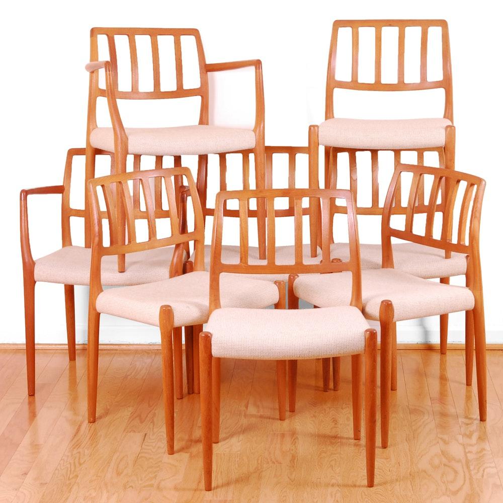 Danish Modern Model 83 Teak Dining Chairs By Niels Otto Møller For J. L.  Møller ...