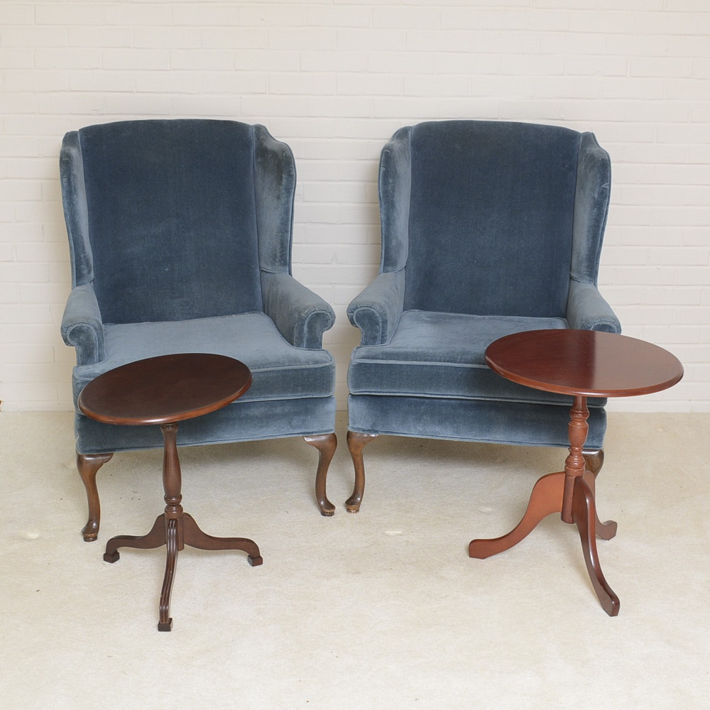 Blue Velour Wingback Chairs by Rowe and Accent Tables