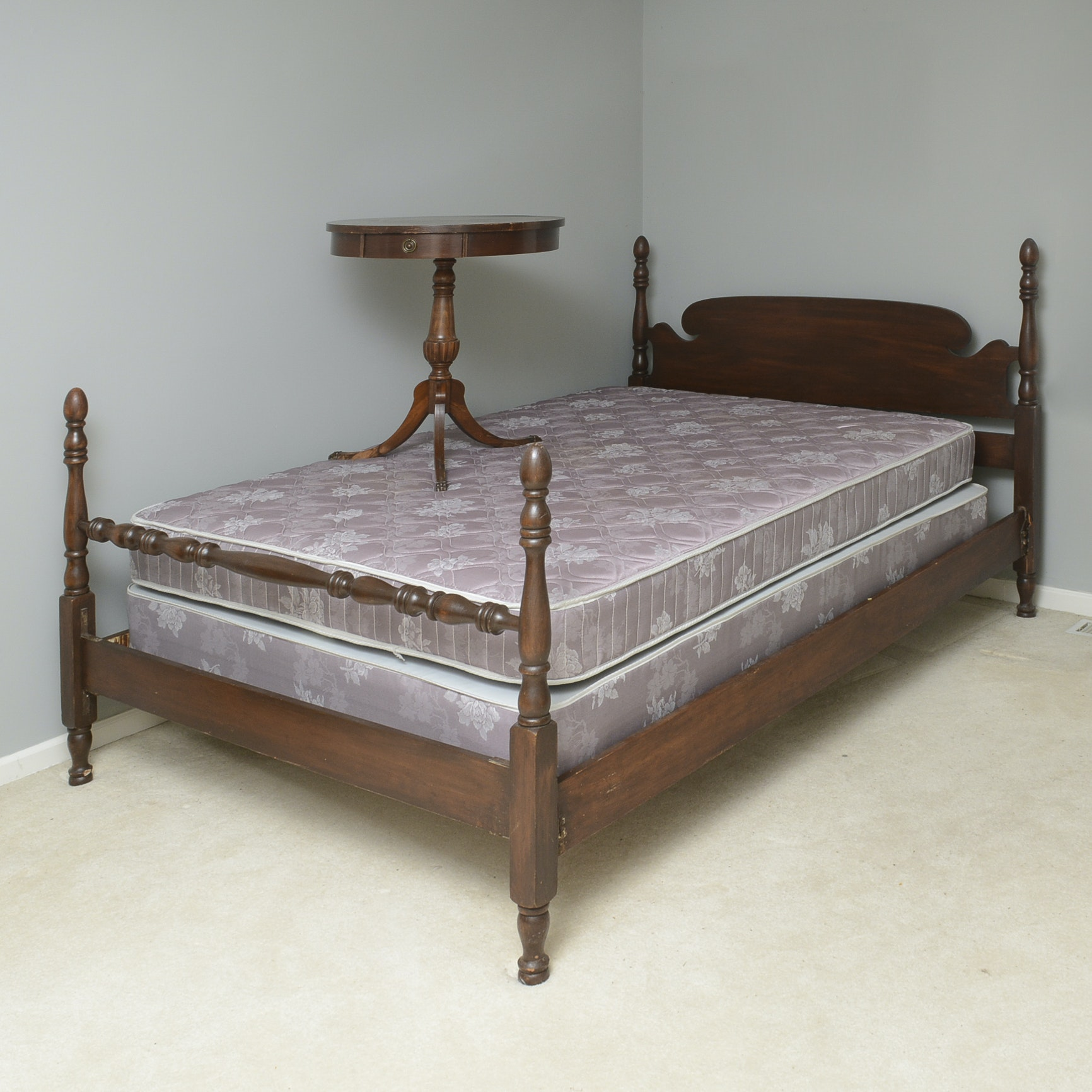 Vintage Wood Double Bed Frame and Pedestal Side Table