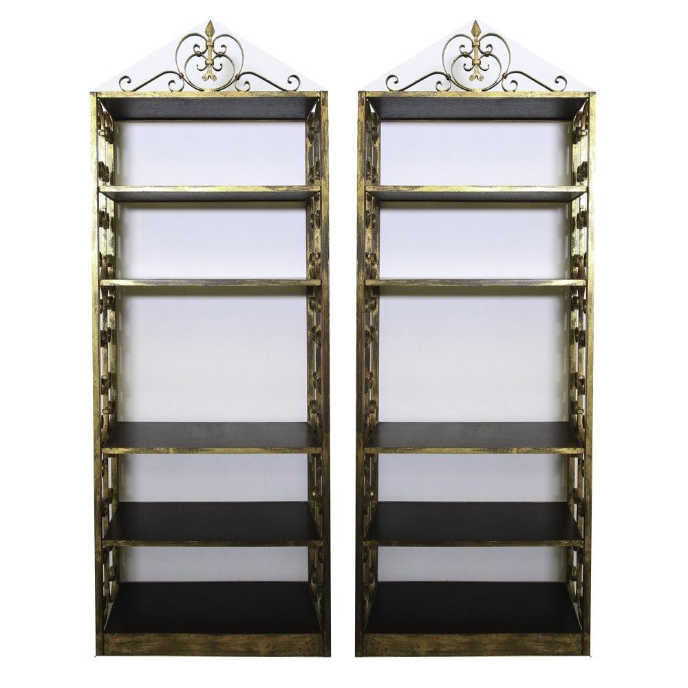 Pair of Hollywood Regency Style Gilded Metal Bookshelves