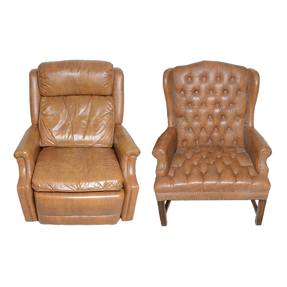 Tufted Wingback Armchair and Lounge Chair by Barca Lounger