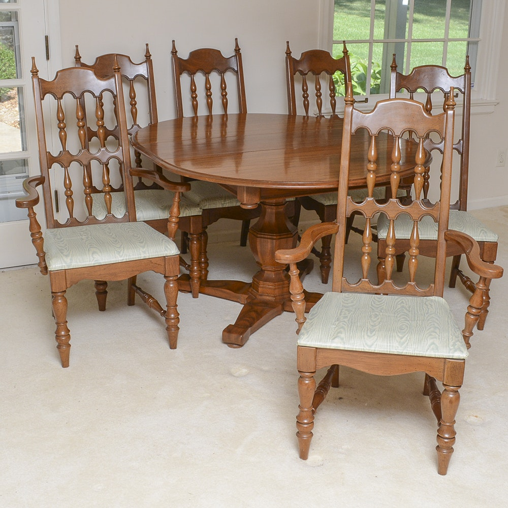 Vintage Oak Dining Table with Six Chairs