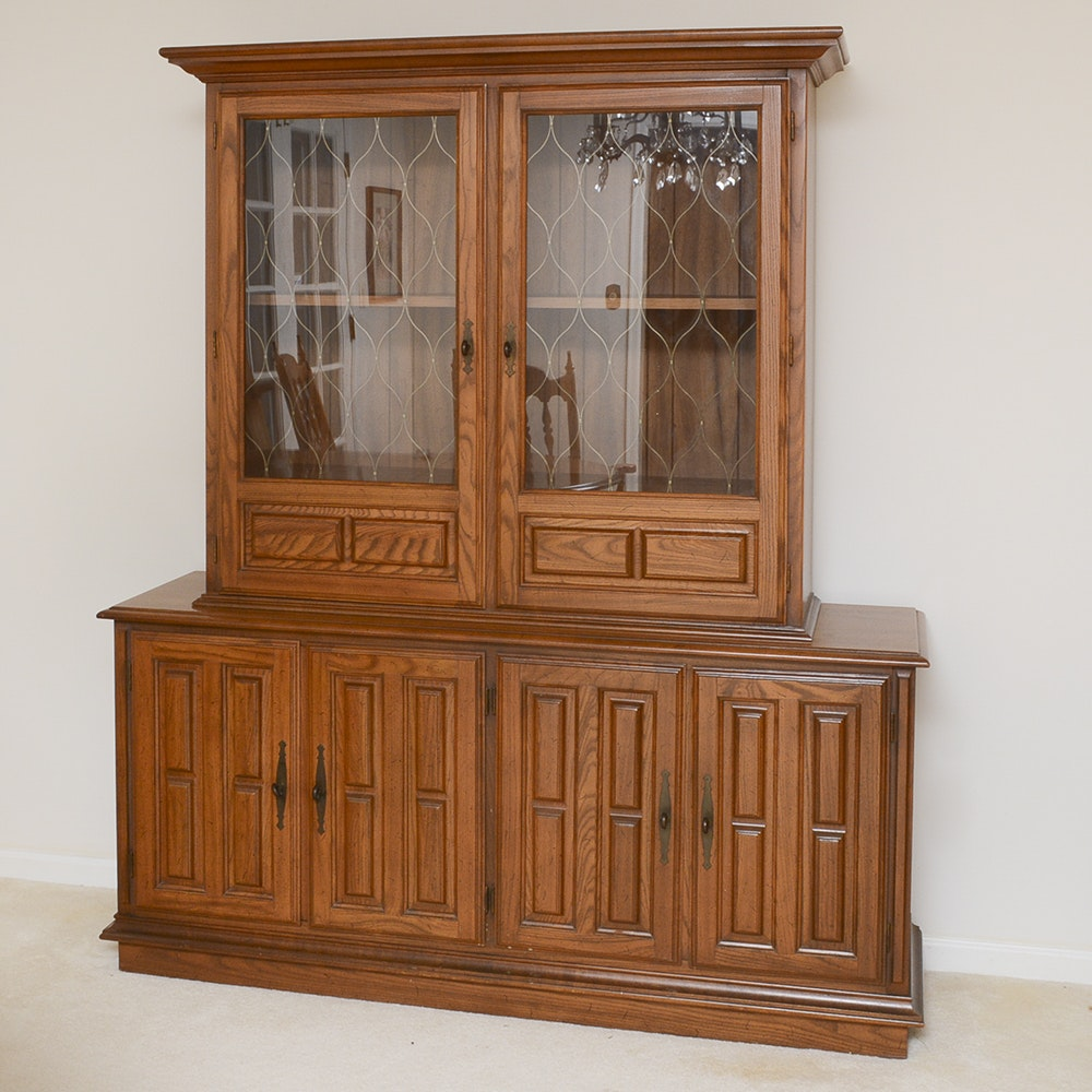 Mid-Century Oak Hutch by Drew Furniture