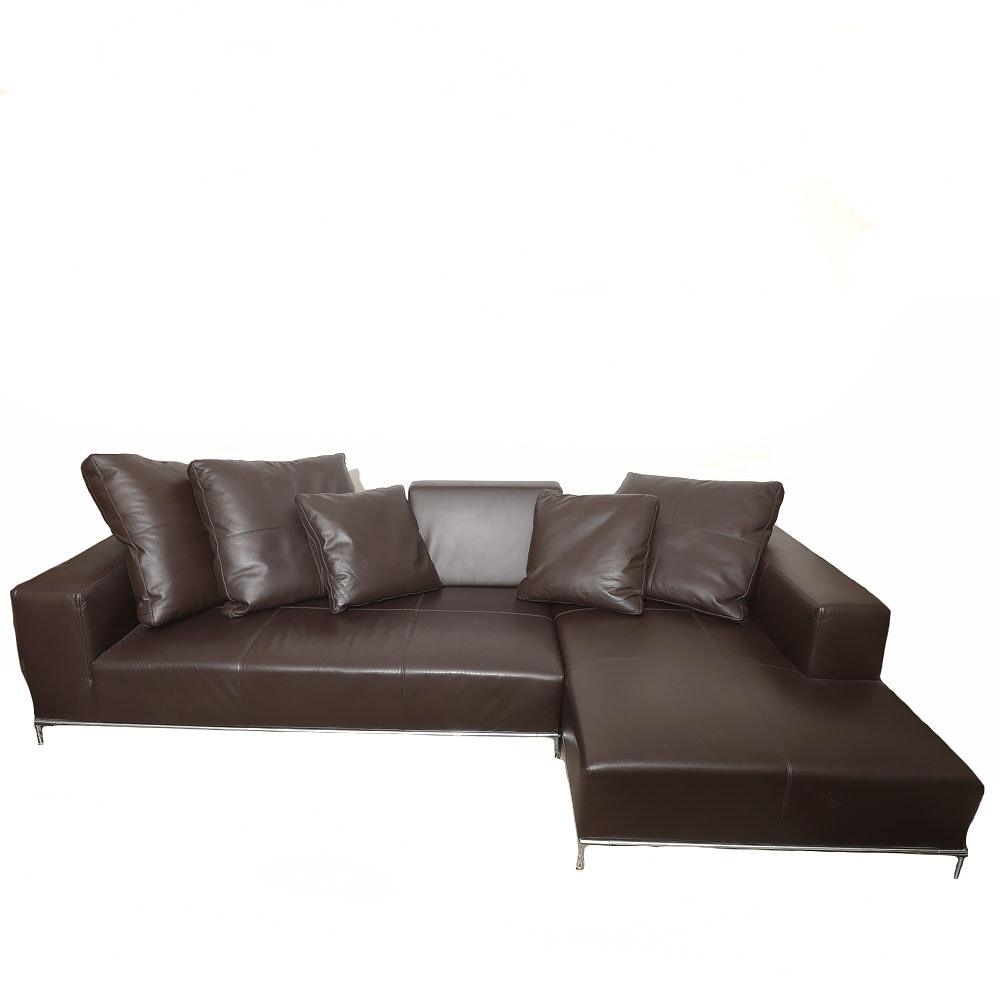 Chocolate Italian Leather Sectional with Customizable Perforated Leather Pillows