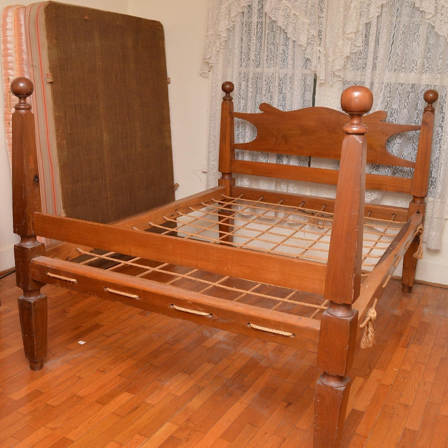 Antique Cherry Cannonball Rope Bed : EBTH