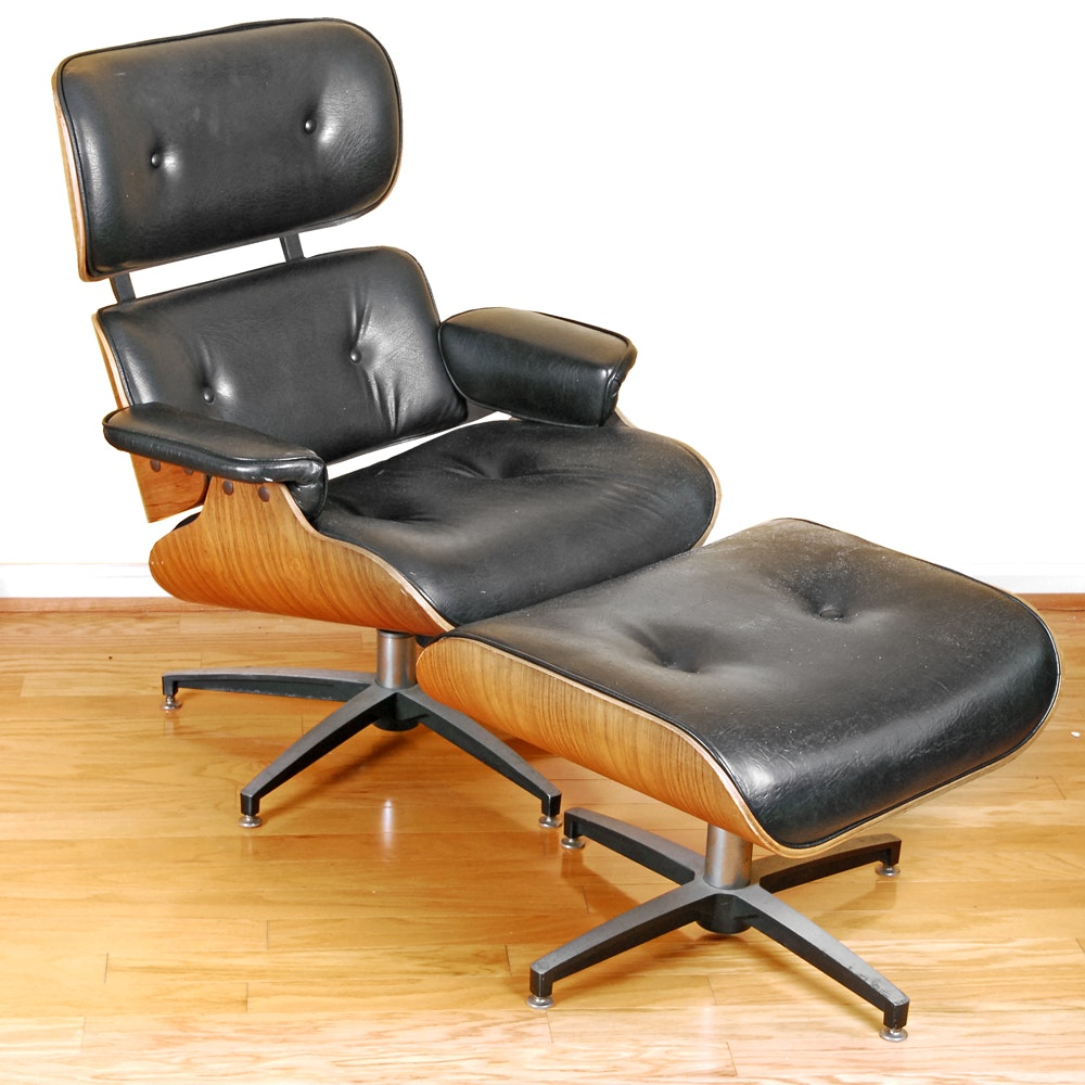 eames style lounge chair and ottoman by charlton company